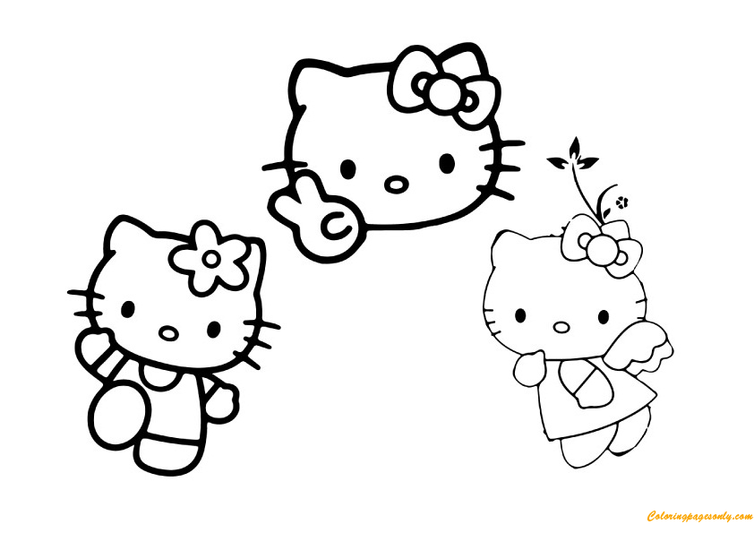 Hello Kitty With Her Friends Coloring Page