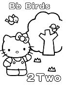 Hello Kitty with letter B is for two Birds Coloring Page