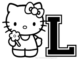 Hello Kitty With Letter L Coloring Page