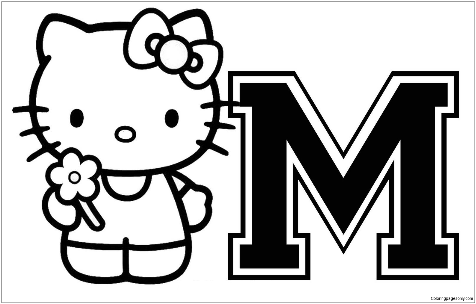 Hello Kitty With Letter M Coloring Page - Free Coloring Pages Online