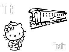 Hello Kitty with letter T is for Train Coloring Page