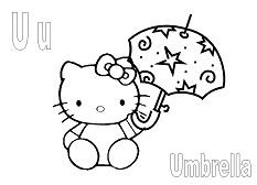 Hello Kitty with letter U is for Umbrella