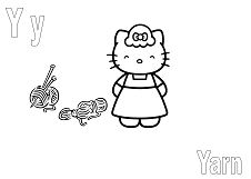 Hello Kitty with letter Y is for Yarn Coloring Page