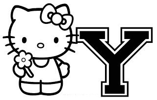 Hello Kitty With Letter Y Coloring Page