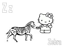 Hello Kitty with letter Z is for Zebra Coloring Page
