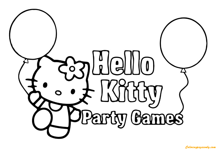 Hello Kitty With Party Games Coloring Page