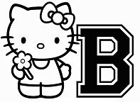 Hello Kitty With The Alphabet B Coloring Page