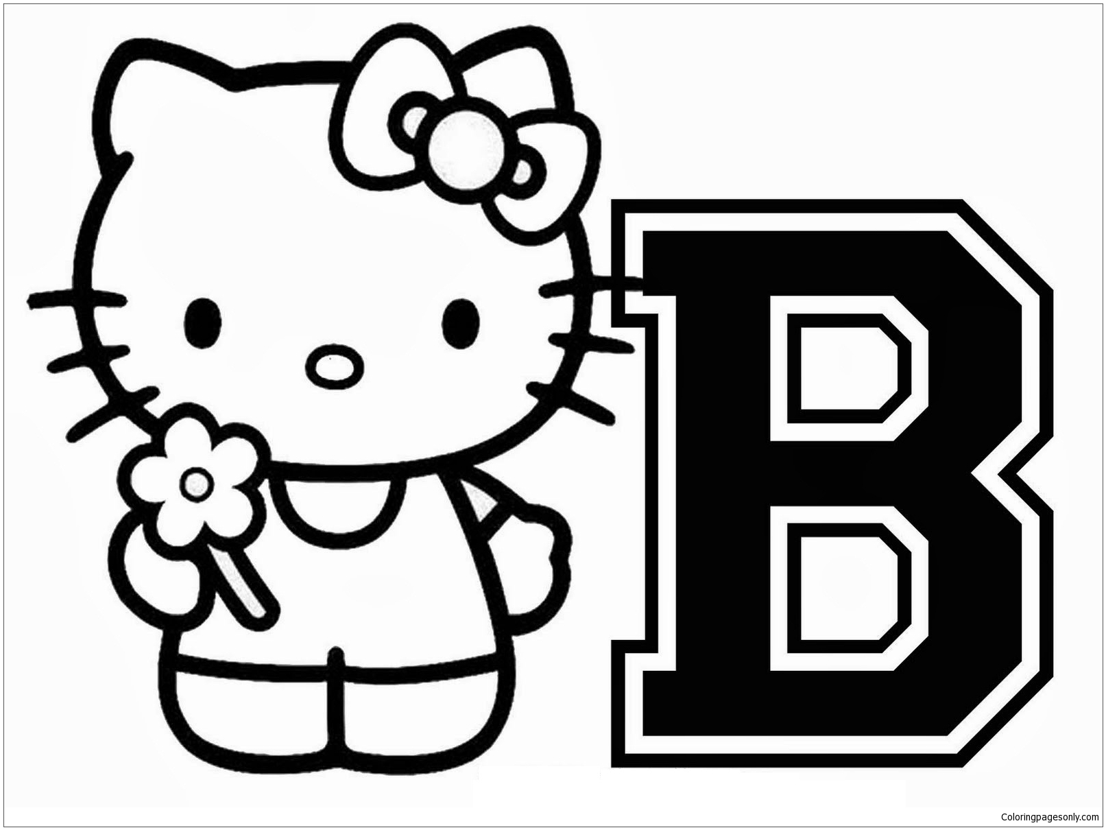 About Hello Kitty With The Alphabet B Coloring Page