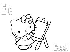 Hello Kitty with the letter E is for Easel