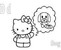 Hello Kitty with the letter D is for Dog  Coloring Page