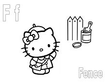 Hello Kitty with the letter F is for Fence Coloring Page