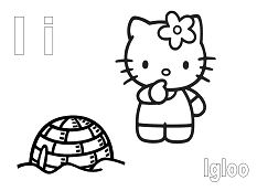 Hello Kitty with the letter I is for Igloo Coloring Page