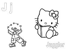 Hello Kitty with the letter J is for Juggler