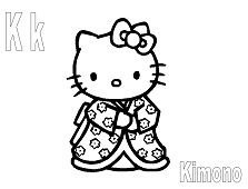 Hello Kitty with the letter K is for Kimono Coloring Page