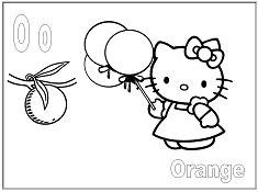 Hello Kitty with the letter O is for Orange