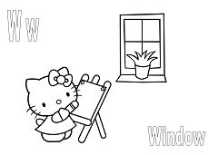 Hello Kitty with the letter W is for window Coloring Page