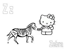 Hello Kitty with the letter Z is for Zebra