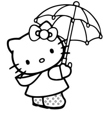 Hello Kitty With Umbrella Coloring Page
