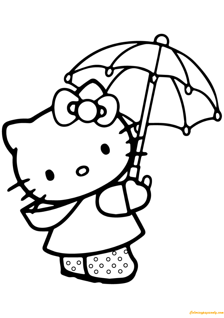 Hello Kitty With Umbrella Coloring Page Free Coloring