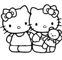 Hello Kittys And Baby Doll Coloring Page