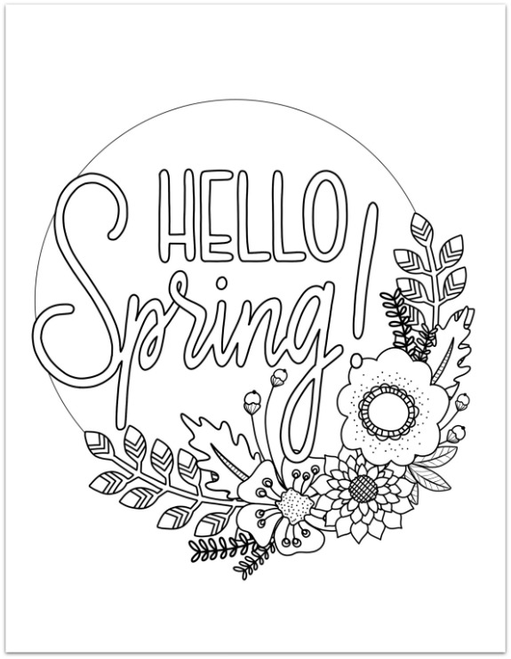 Hello Spring Coloring Page