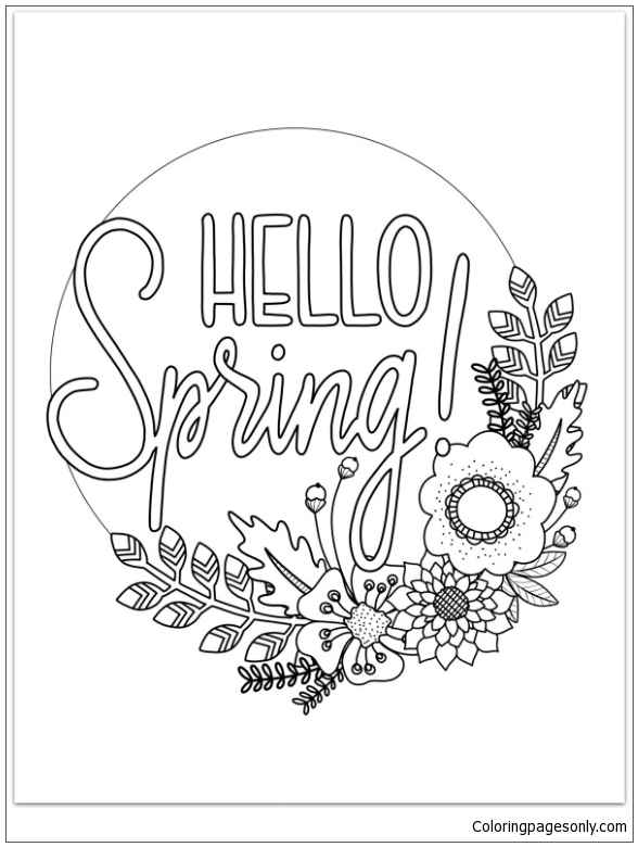 Hello Spring Coloring Page - Free Coloring Pages Online