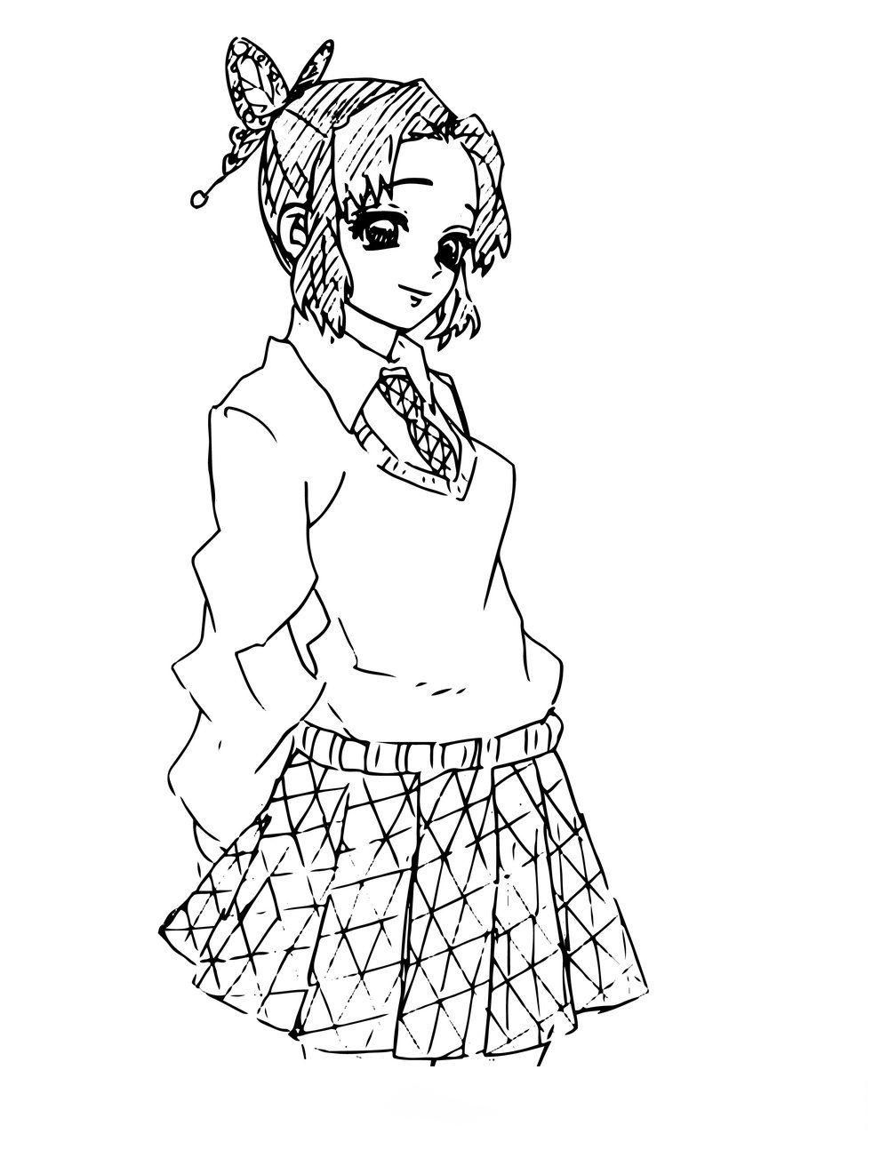 Nezuko Highschool girl Coloring Page