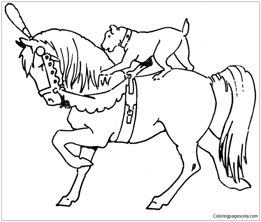 Horse And Dog Coloring Page