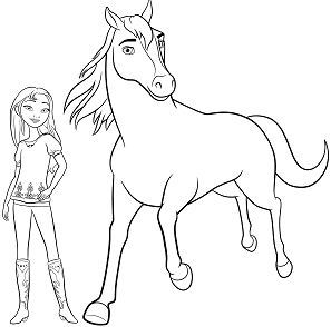 Horse and Girl Coloring Page