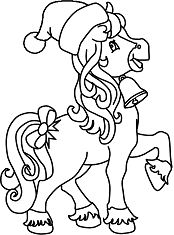 Horse Christmas Coloring Page