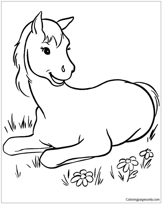 Horse Cute Coloring Page