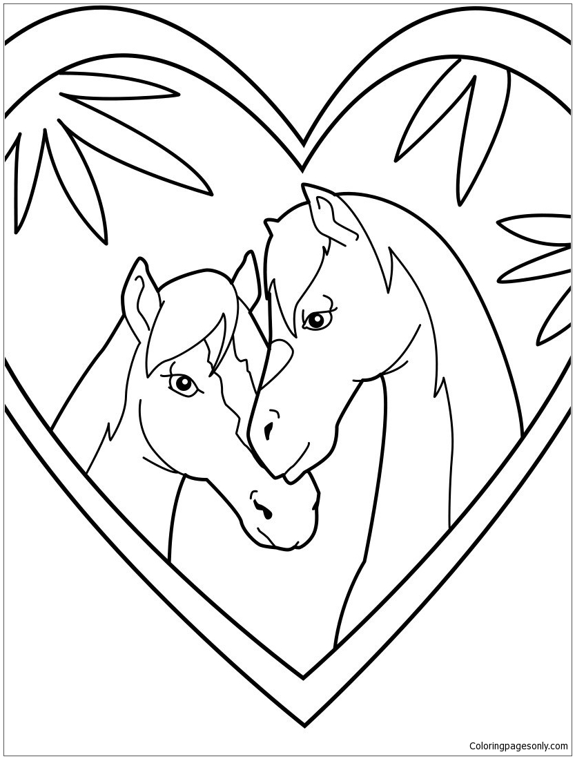 Horse Love Coloring Page