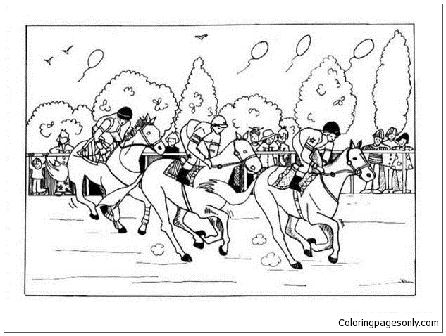 - Horse Race Coloring Page - Free Coloring Pages Online