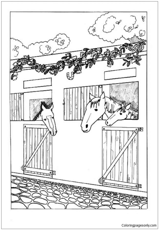 Horses In The Stable Coloring Page