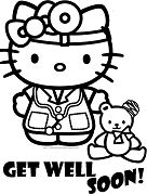 Hospital get well soon of Hello Kitty Coloring Page