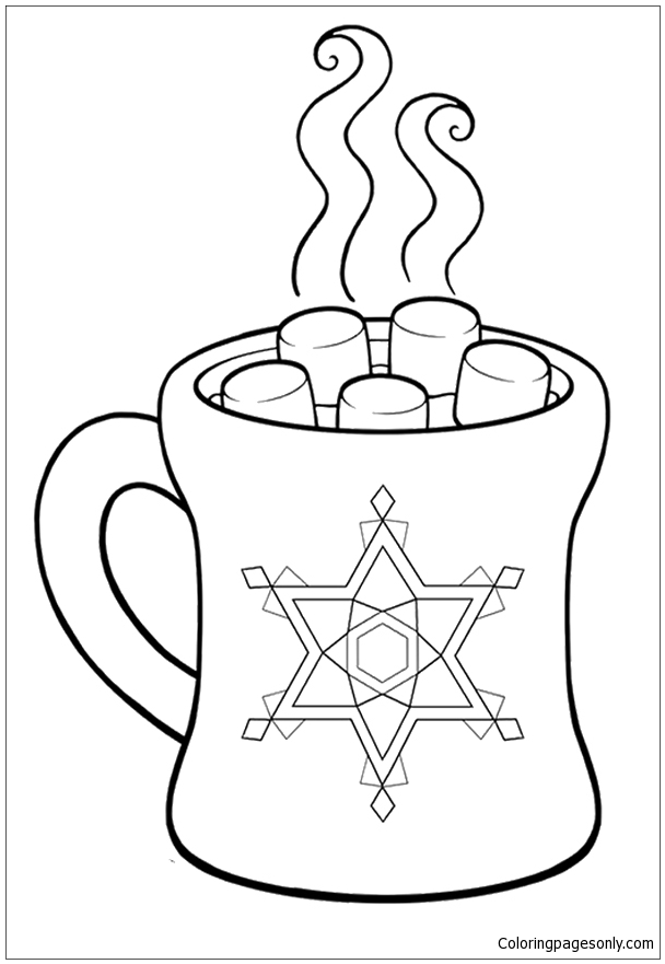 Hot Chocolate During Winter Climate Coloring Page - Free ...