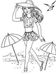 Hot girl on the beach Coloring Page
