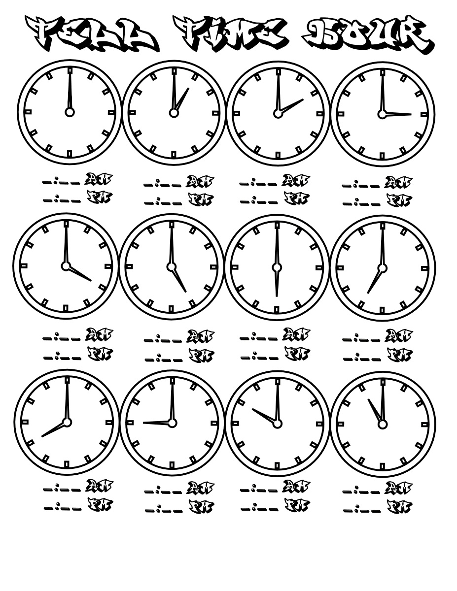 Hour Clock Face Coloring Page