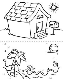 House And Beach Coloring Page