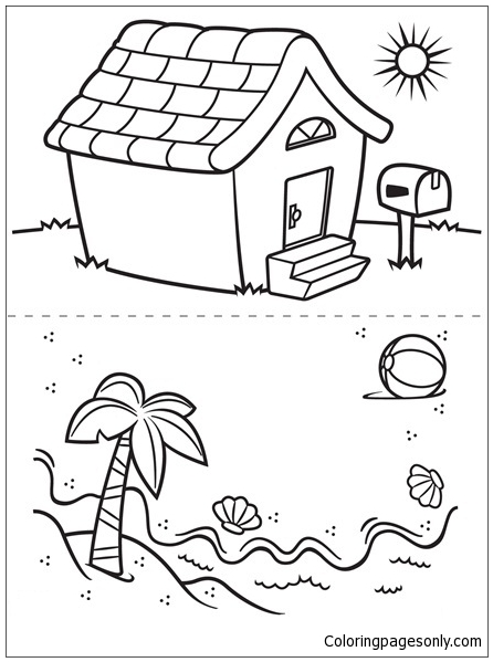 House And Beach Coloring Page - Free Coloring Pages Online