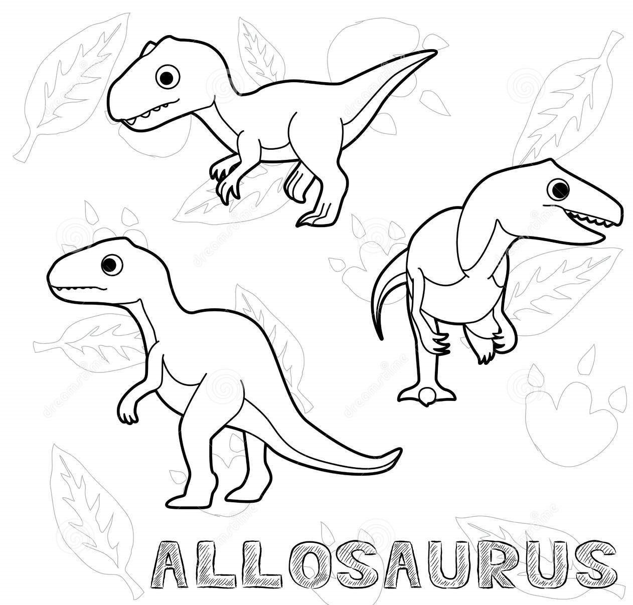 How to draw Allosuarus Coloring Page
