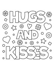 Hugs And Kiss Coloring Page