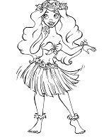 Hula Girl Coloring Page