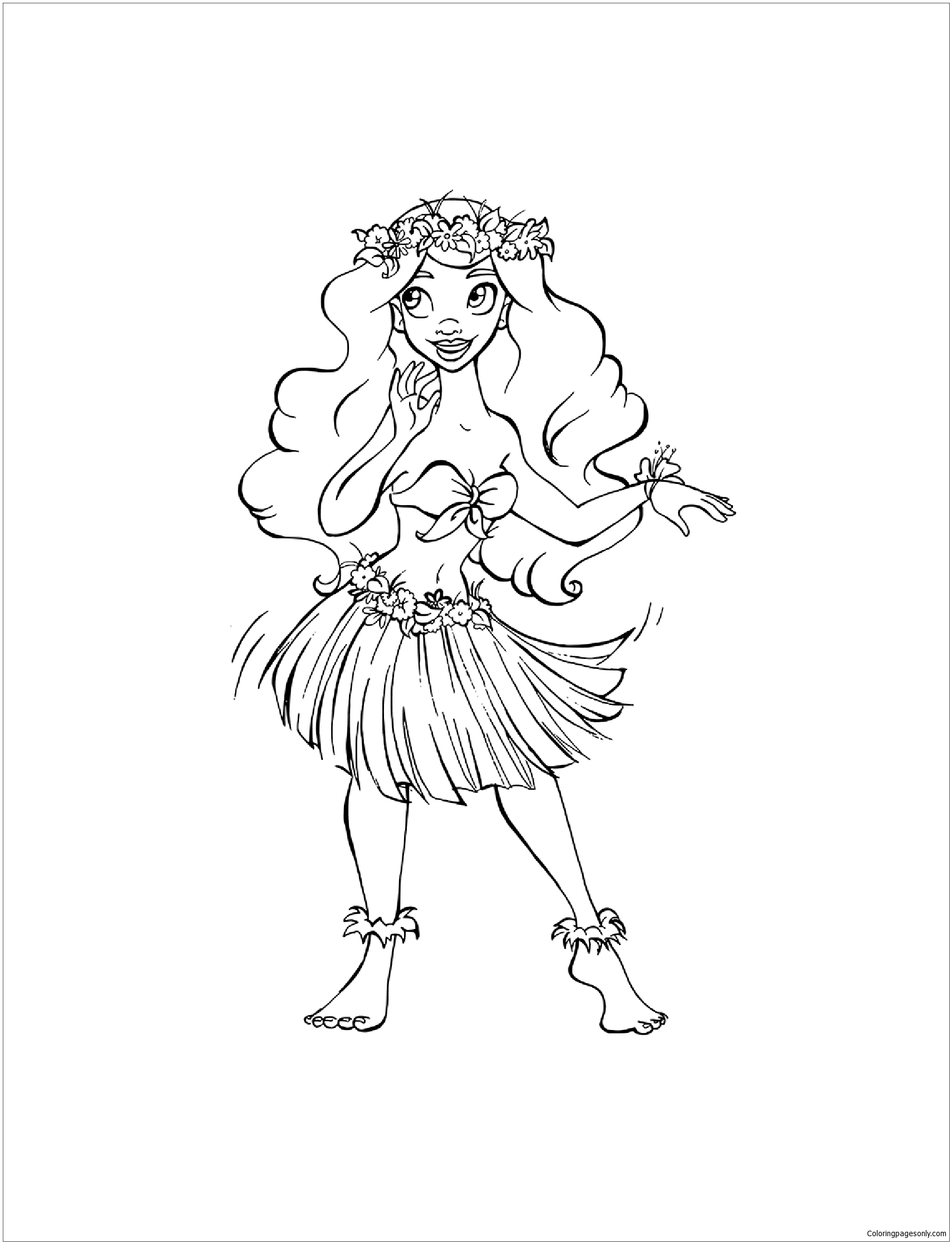 Hula girl coloring page free coloring pages online for Hula girl coloring page