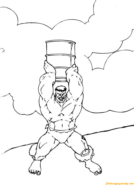 Hulk Lifts Large Barrel Coloring Page