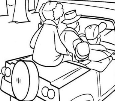 Hunters In The Forest Coloring Page