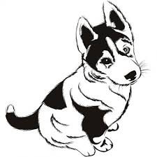 Husky Puppies Coloring Page