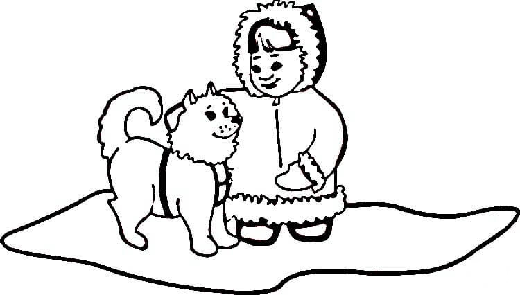 Husky with little girl Coloring Page