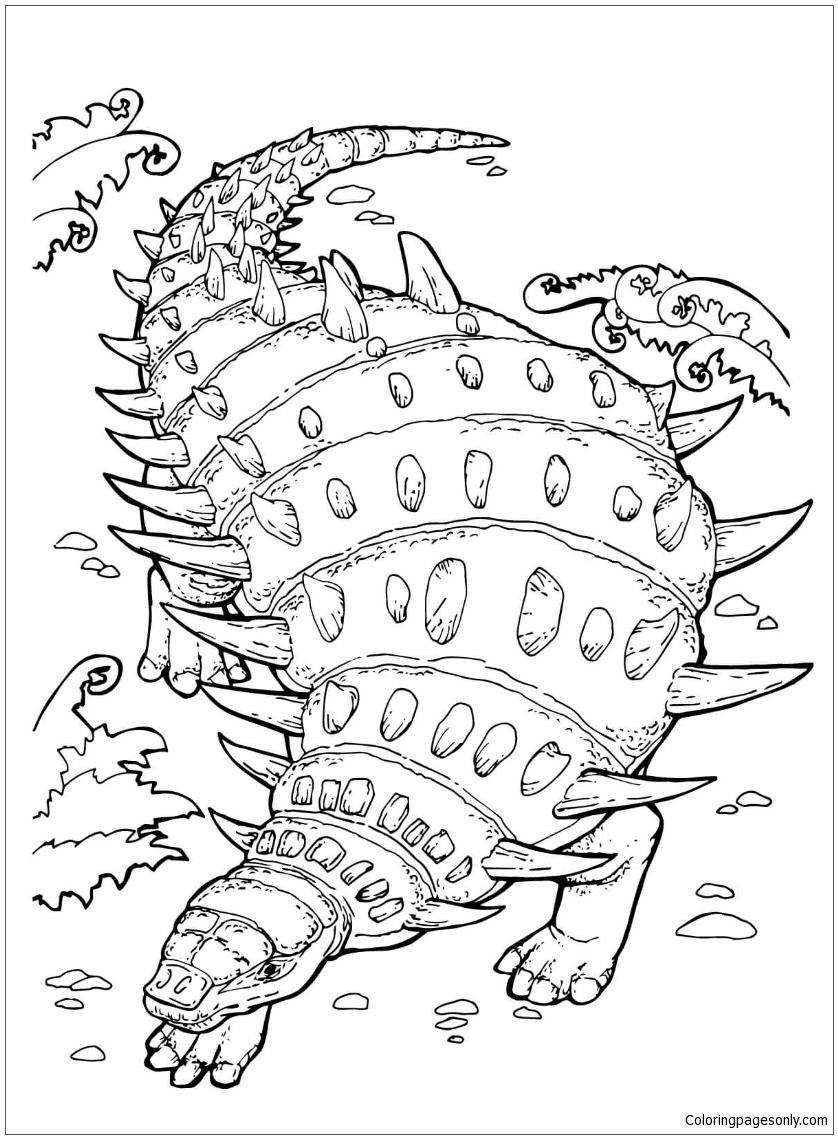 Hylaeosaurus Herbivorous Ankylosaurian Dinosaur Coloring Page