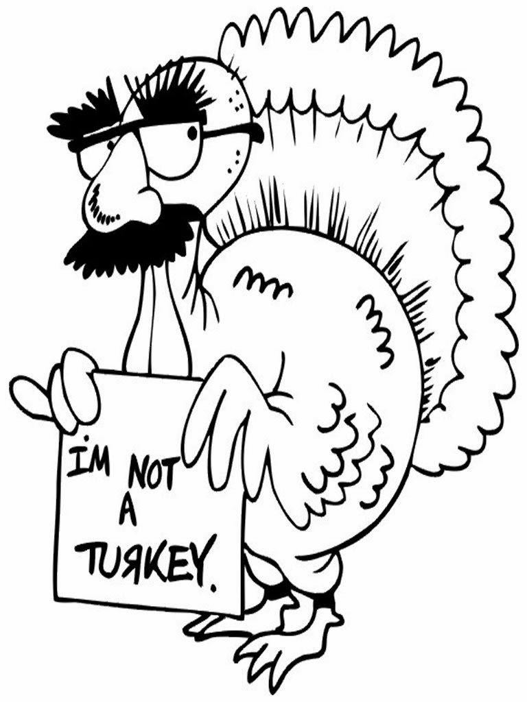 Funny Turkey Thanksgiving Coloring Page Free Coloring Pages Online